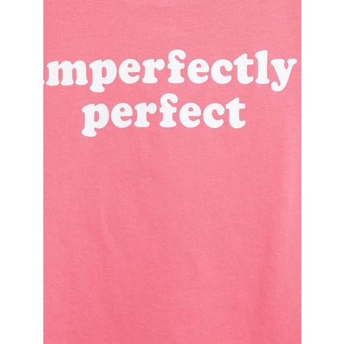 Mango Kids Girls Pink Printed Round Neck T-shirt