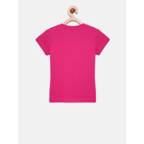 Adams kids Girls Pink Printed Round Neck T-shirt