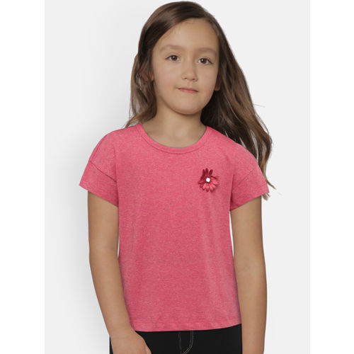 United Colors of Benetton Girls Pink Solid Round Neck T-shirt
