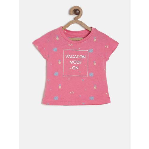 Palm Tree Girls Pink Printed Round Neck T-shirt