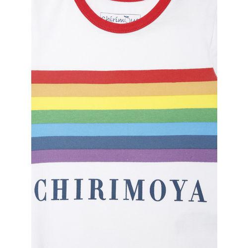 Chirimoya Girls White Striped Round Neck T-shirt
