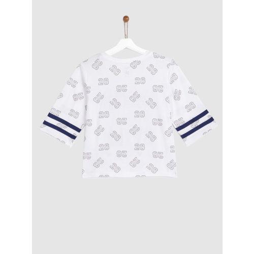 YK Girls White Printed Round Neck T-shirt