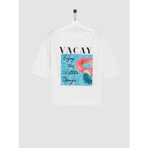 YK Girls White Printed Round Neck T-shirt