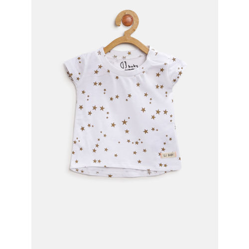 Gini and Jony Girls White & Golden Printed Round Neck T-shirt