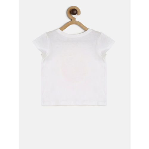 The Childrens Place Girls White Printed Round Neck T-shirt