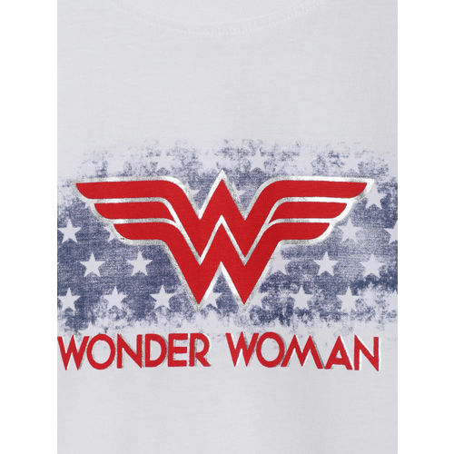 YK Justice League Girls White Printed Round Neck T-shirt
