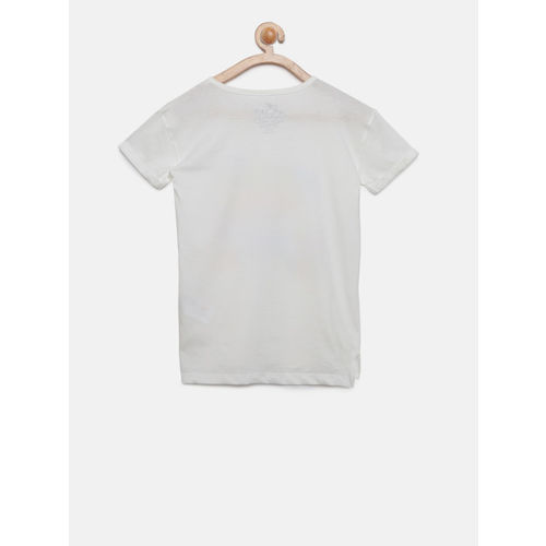 Lee Cooper Girls White Printed Round Neck T-shirt
