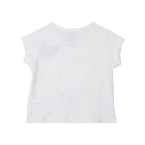 Kids Ville Girls White Printed Round Neck T-shirt