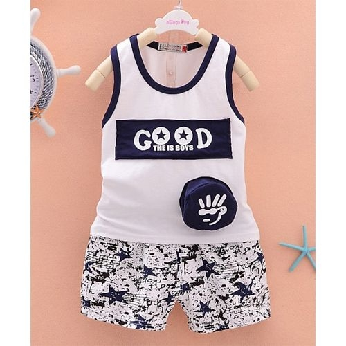 Awabox Sleeveless Text Print Tee With Star Print Shorts - Navy Blue