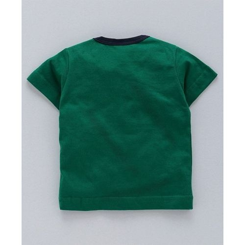 Zero Half Sleeves Graphic Tee With Striped Shorts - Green