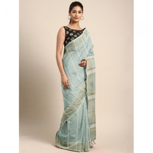 Pavechas Grey & White Pure Cotton Striped Venkatgiri Saree