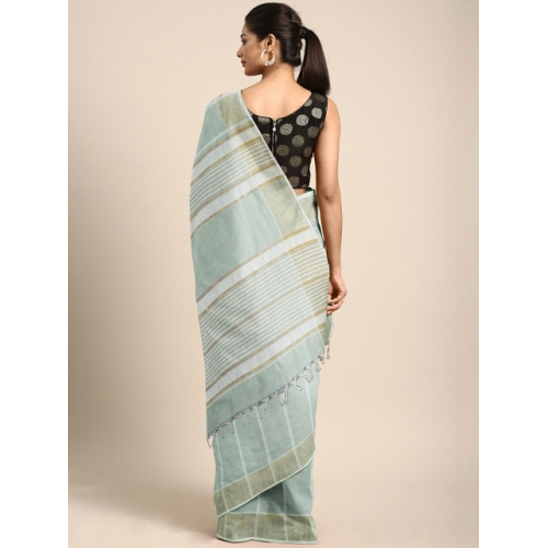 Pavechas Grey & White Pure Cotton Striped Venkatgiri Saree