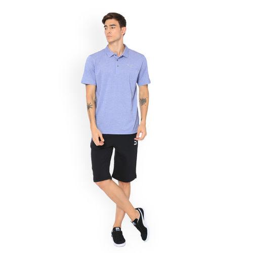 Puma Men Blue Solid Polo Collar T-shirt