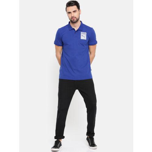 Puma Men Blue Graphic Pique Polo IV Solid Printed T-shirt