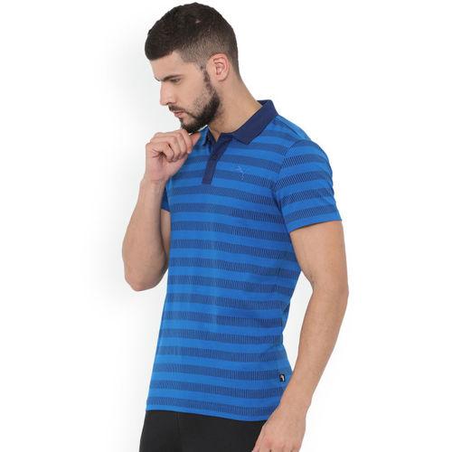 Puma Men Blue Striped Polo Collar Sports Stripe Pique Polo T-shirt
