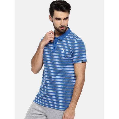 Puma Men Blue ESS Striped Polo Collar T-shirt