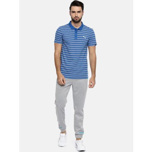 Puma Men Blue ESS Striped Polo Collar T-shirt