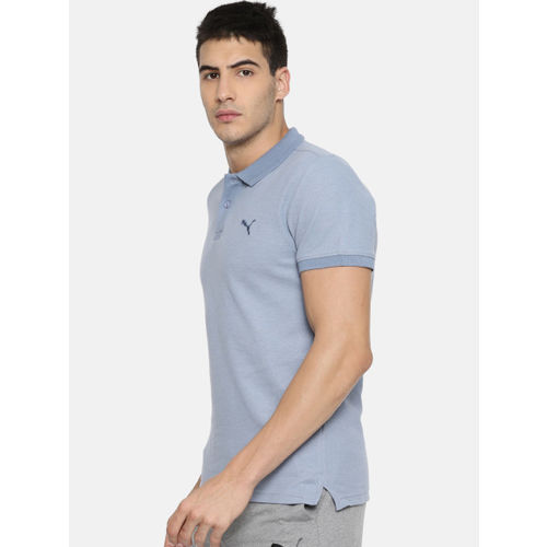 Puma Men Blue Contrast Heather Polo T-shirt