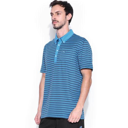 PUMA Men Blue Striped Polo T-shirt