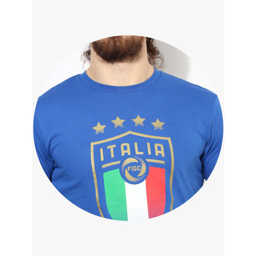 Puma Men Blue Figc Italia Badge Printed Round Neck T-shirt