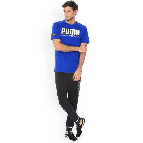 Puma Men Blue Printed Round Neck T-shirt