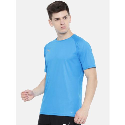 Puma Men Blue Slim Fit Solid Round Neck ftblNXT Azur-Red Blast DryCell T-shirt