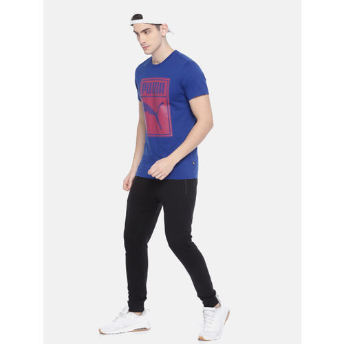 Puma Men Blue Printed Round Neck Graphic T-shirt