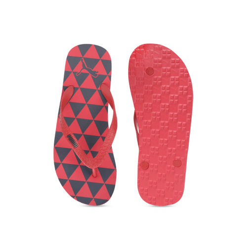 Puma Unisex Red & Grey Monk GU IDP High Risk Shadow Printed Thong Flip-Flops