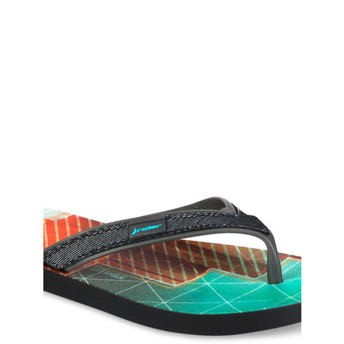 Rider Men Charcoal Grey & Sea Green Printed Thong Flip-Flops