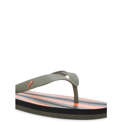 Puma Unisex Olive Green & Orange Printed Thong Flip-Flops