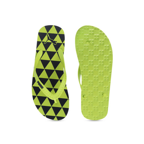 Puma Unisex Green & Blue Printed Thong Flip-Flops