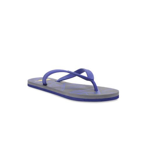 Puma Men Navy Blue & Charcoal Grey Printed Thong Flip-Flops