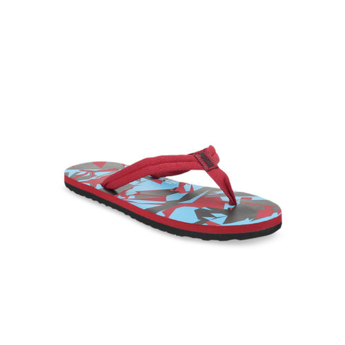 Puma Unisex Red & Blue Printed Thong Flip-Flops