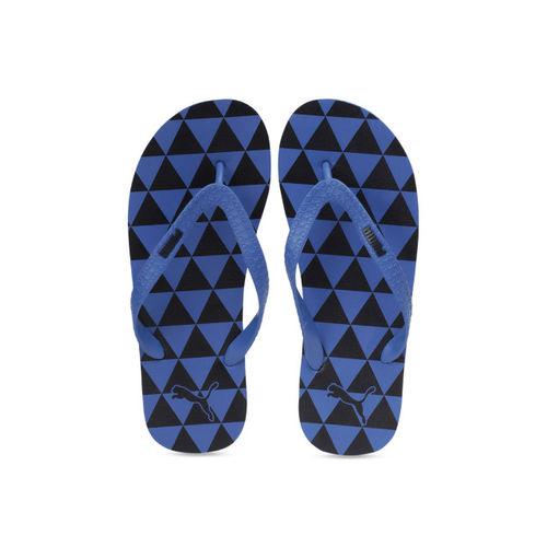 Puma Unisex Black & Blue Printed Thong Flip-Flops Monk GU IDP Puma Black-Indigo Bunting
