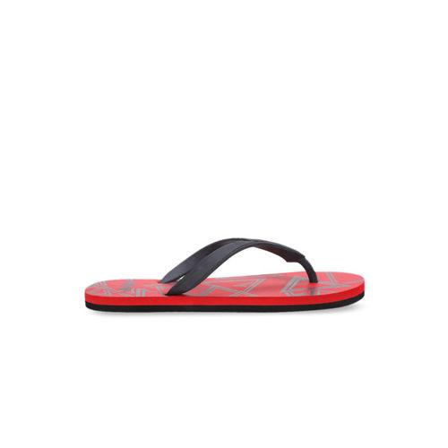 Puma Men Red & Charcoal Grey Printed Thong Flip-Flops