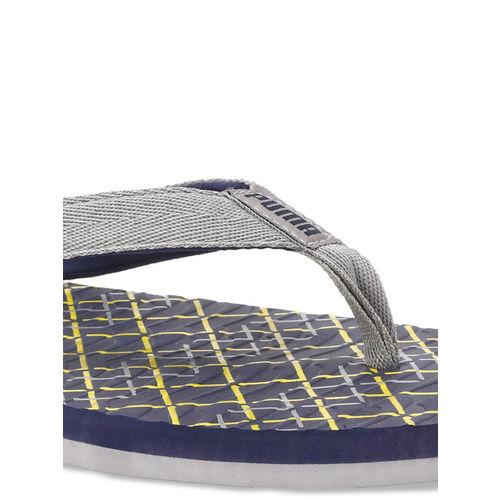 Puma Unisex Blue & Grey Printed Thong Flip-Flops