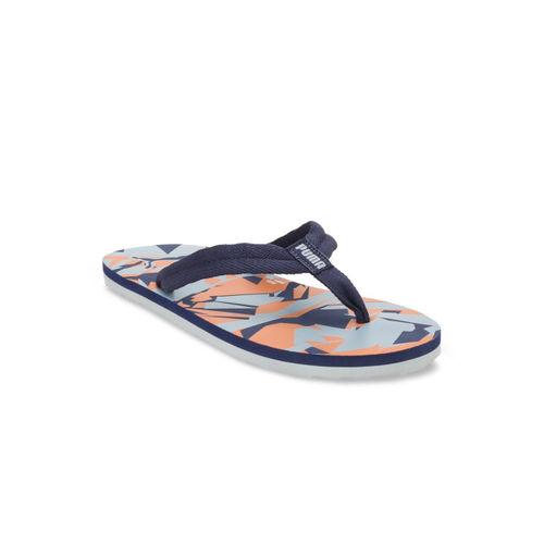 Puma Unisex Blue & Orange Printed Thong Flip-Flops