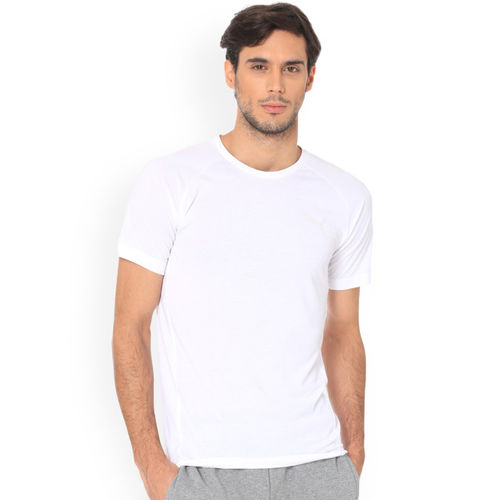 Puma Men White Solid Round Neck T-shirt Evostripe Move Tee Puma White