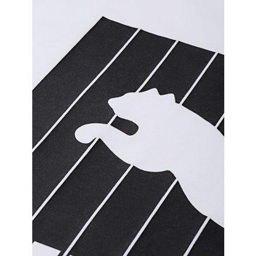 Puma Men White & Black Printed Pinstripe Graphic Round Neck T-shirt