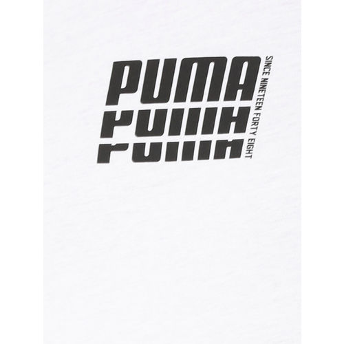 Puma Men White Printed Rebel Up Round Neck T-shirt