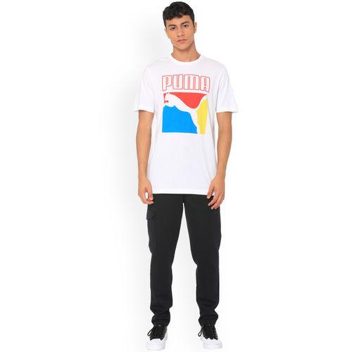 Puma Men White Printed Round Neck T-shirt