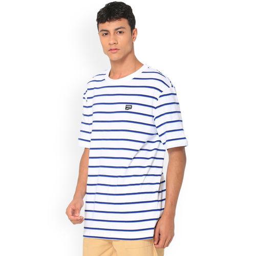 Puma Men White Striped Round Neck T-shirt