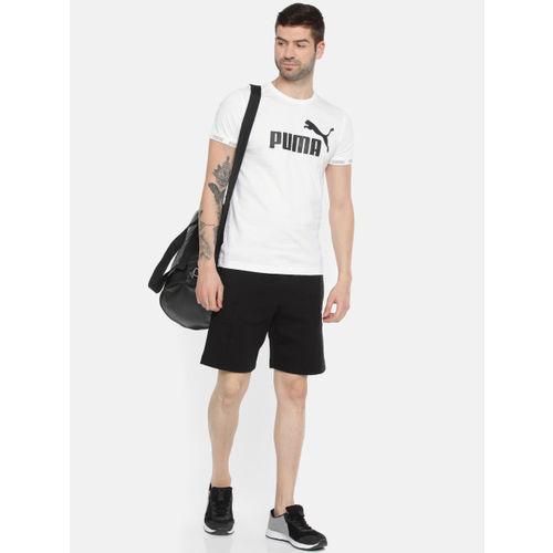 Puma White & Black Printed Amplified Big Logo Tshirt