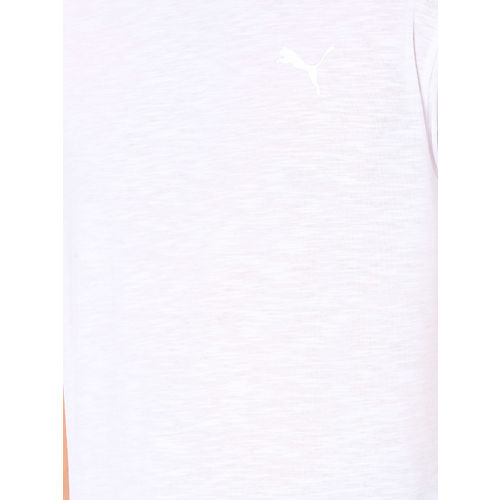 Puma Men White Solid Round Neck T-shirt