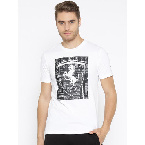 Puma Men White Printed Ferrari Big Shield T-shirt