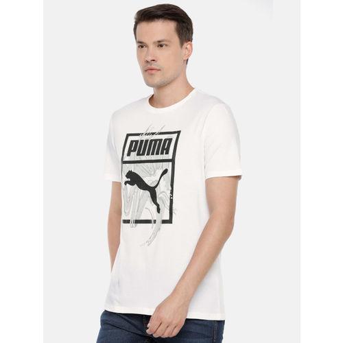 Puma Men White Graphic Logo Brush Printed T-shirt