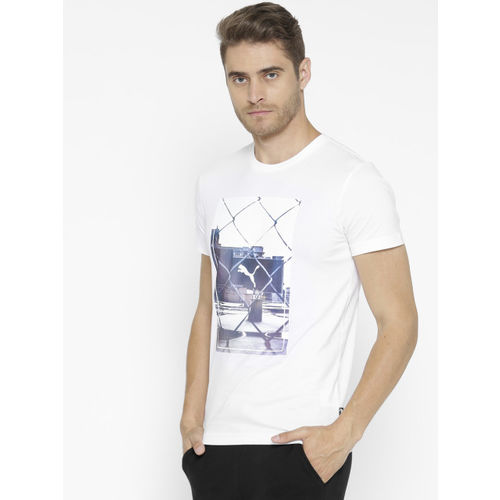 Puma Men White Photoprint Printed Round Neck T-shirt