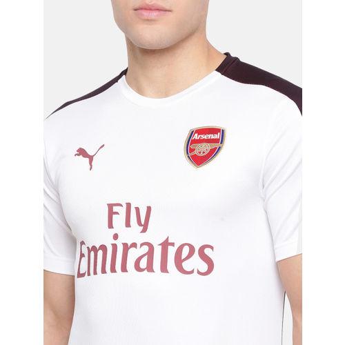Puma Men White Arsenal dry-CELL SSwith EPL sponsor Logo Printed Sports T-shirt