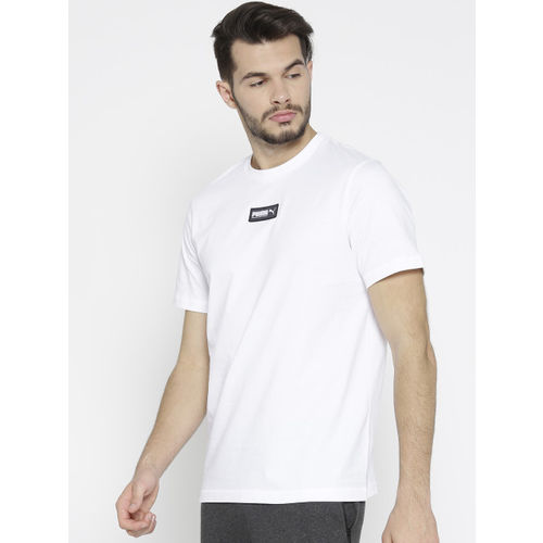 Puma Men White Solid Fusion T-Shirt