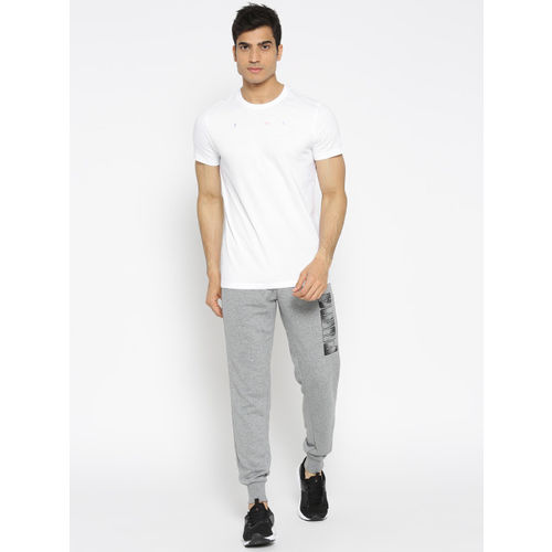 Puma Men White Solid Fierce Cat Round Neck T-shirt with Printed Back